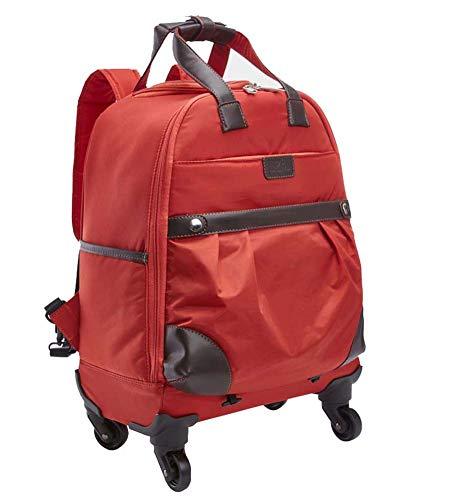 Gran maleta trolley roja para mujer cargada