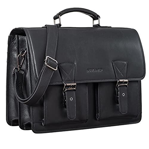maletin estudiante de cuero negro para portatil XL