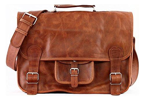Mochila maletín de cuero vintage con bandolera para profe Paul et Marius